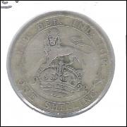 Inglaterra, 1 Shilling, 1922, prata .500, Rei George V, mbc.