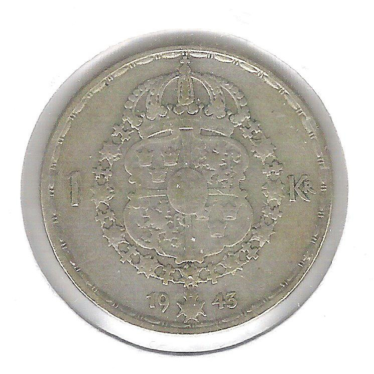 Suécia, 1 Kroner 1943 , Gustavo V, prata .400, mbc.