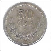 Suécia, 50 Ore 1933 , Gustavo V, prata .600, mbc.
