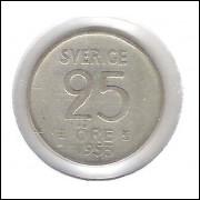 Suécia, 25 Ore 1953 , Gustavo V, prata .400, mbc.
