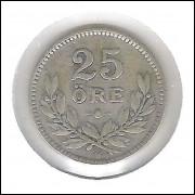 Suécia, 25 Ore 1917 , Gustavo V, prata .600, mbc.