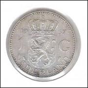 Holanda, 1 Gulden, 1957 , Rainha Juliana, prata .720, mbc.