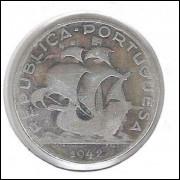 Portugal, 5 Escudos, 1942, prata .650, mbc. Caravela, embarcação.