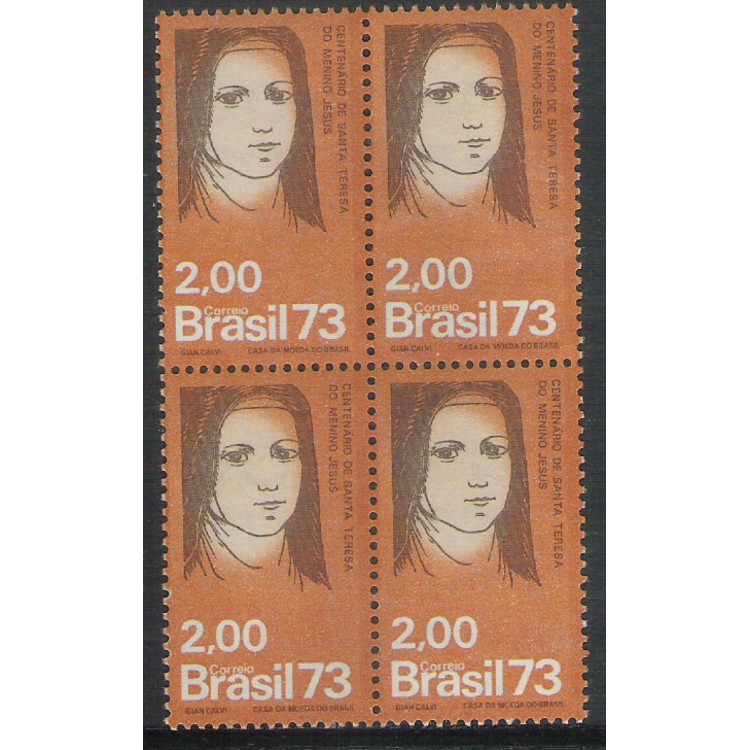 1973 - C-805q - Centenário de Santa Teresa do Menino Jesus. Religião. Quadra