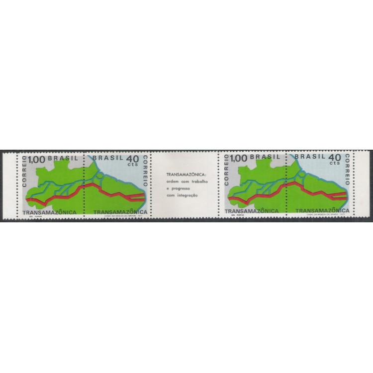 1971 - C-699-700 - Transamazônica: ordem com trabalho e progresso com integração. Tira de 4 selos.