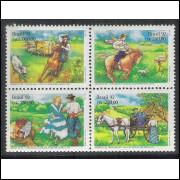 1992 - C-1778-81 - Costumes Gaúchos. Dança, Charrete e Cavaleiro. Exposição Filatélica. Arbrafex-92.