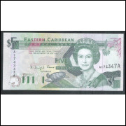 Antigua (P.26a), 5 Dollars, 1993, fe. Rainha Elizabeth II. Eastern Caribbean.