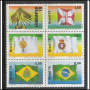 1978 - C-1055-59 - Bandeiras Históricas: Ordem de Cristo-Principado do Brasil-Reino Unido-Império.