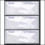 SE-056/58 Brasil - 2005 - Selos Etiquetas, Pomba, fundo cinza, fauna.