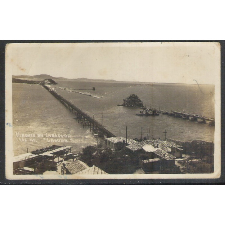 la01 - Cartão postal antigo, Viaduto da Cabeçuda, Laguna.