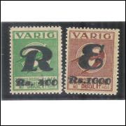 V-34/35 Brasil - 1933 - Varig, série tipo Ícaro, Registrado e Expresso, novos. com goma.