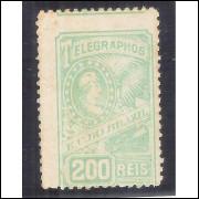 T-12 - 200 Réis Telegrafo 1899, novo, com goma.