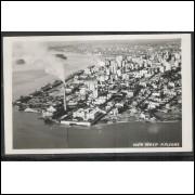 pa02 - Cartão postal antigo, Vista aérea - Porto Alegre. Chaminé, rio. Ed. Canazaro.