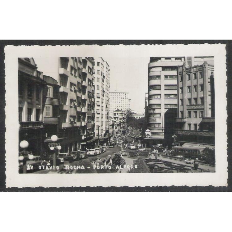 pa04 - Cartão postal antigo (1958), Avenida Otávio Rocha - Porto Alegre.