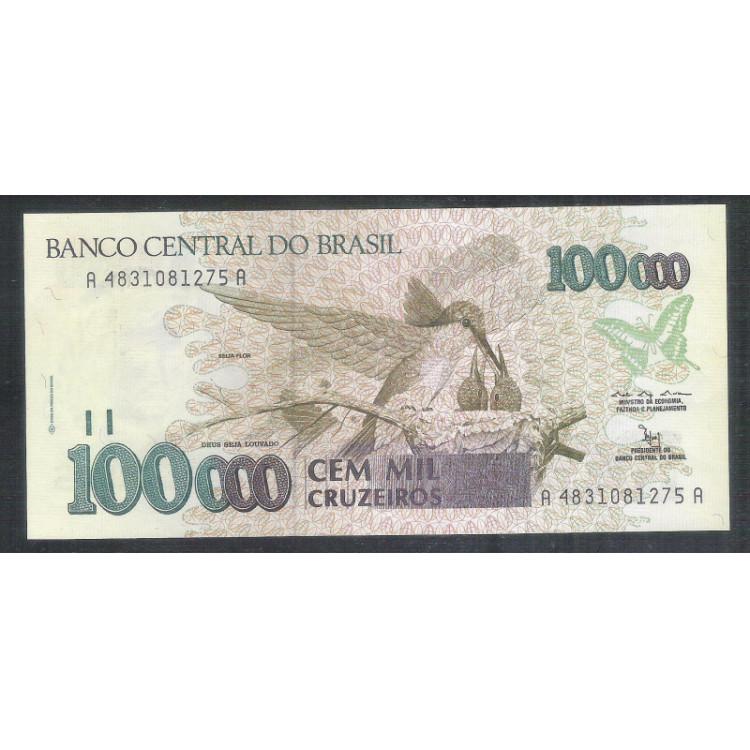 C227 - 100.000 Cruzeiros, 1992, Marcilio M. Moreira e Francisco Gross, fe. Beija-flor