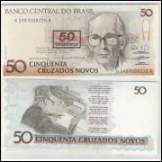 C210 - 50 Cruzeiros, 1990, Cédula Provisória, fe. Carlos Drummond de Andrade.