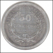 Uruguai, 50 Centesimos, 1877, prata .900, 12,5 g, 32 mm.