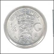 Índias Holandezas, 1/4 Gulden, 1945, prata .720, 3,18 g, 18 mm, FC.