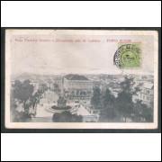 Postal circulado 1918 Porto Alegre Praça Marechal Deodoro Monumento Júlio Castilhos. Carimbo censura