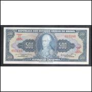 C047- 500 Cruzeiros, 1962, estampa 1a, Valor Legal, Reginaldo F. Nunes - Walter M. Salles, soberba.