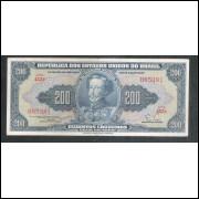 C038- 200 Cruzeiros, 1955, estampa 1a, Valor Recebido, Claudionor S. Lemos - Eugênio Gudin. mbc/s