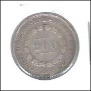 1861 - 200 Réis,  prata, mbc, Brasil-Império, Dom Pedro II.