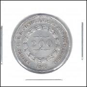1863 - 200 Réis,  prata, mbc, Brasil-Império, Dom Pedro II.