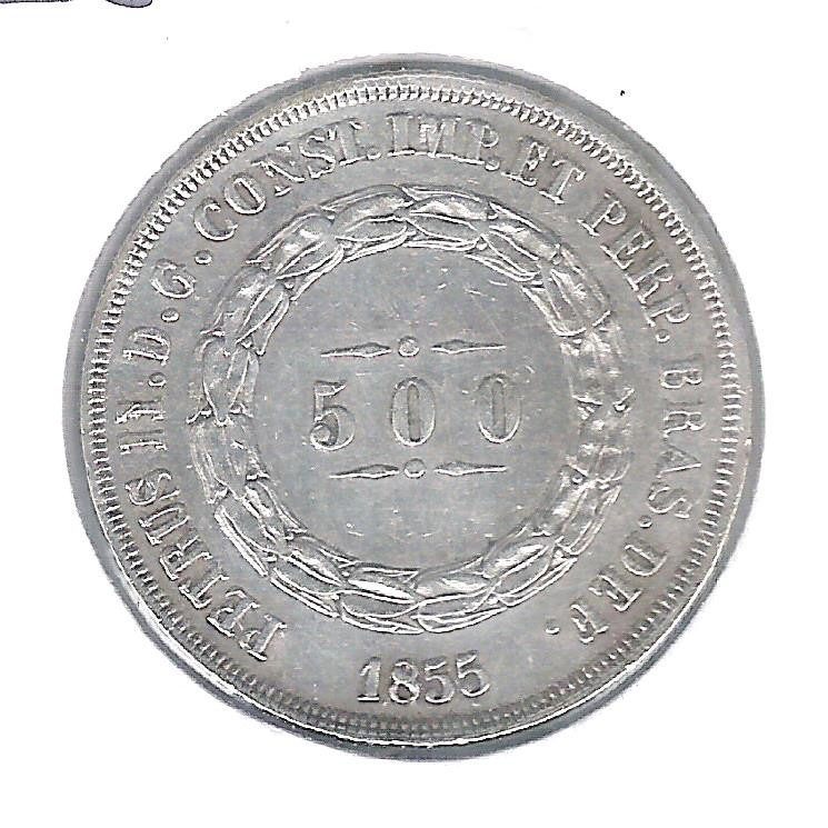 1855 - 500 Réis,  prata, mbc, Brasil-Império, Dom Pedro II.