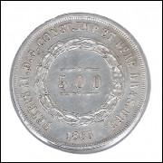 1863 - 500 Réis,  prata, soberba, Brasil-Império, Dom Pedro II.