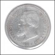 1888 - 500 Réis,  prata, soberba, Brasil-Império, Dom Pedro II.