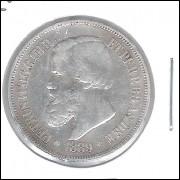 1889 - 500 Réis,  prata, soberba, Brasil-Império, Dom Pedro II.