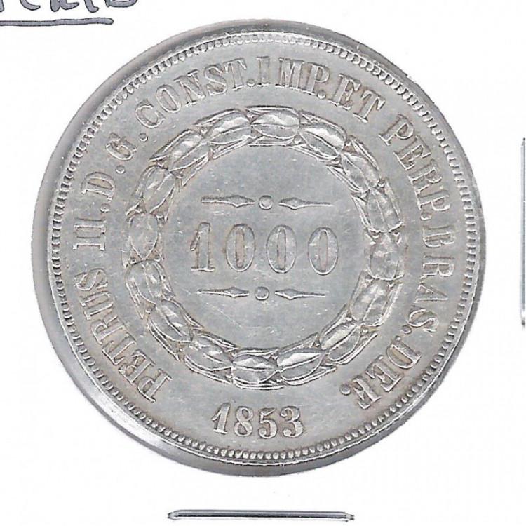 1853 - 1000 Réis, prata, soberba, Brasil-Império, Dom Pedro II.
