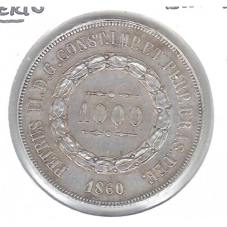 1860 - 1000 Réis, prata, mbc, Brasil-Império, Dom Pedro II.