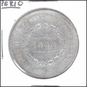 1862 - 1000 Réis, prata, soberba, Brasil-Império, Dom Pedro II.