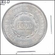1863 - 1000 Réis, prata, quase FC, Brasil-Império, Dom Pedro II.