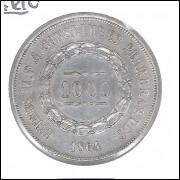 1864 - 1000 Réis, prata, soberba, Brasil-Império, Dom Pedro II.