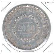 1863 - 2000 Réis, prata, quase FC, Brasil-Império, Dom Pedro II.