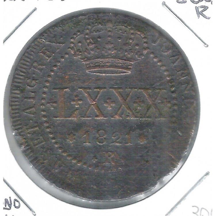1821 R - LXXX Réis, cobre, Brasil-Reino Unido, D. João VI, mbc+.