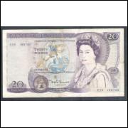 Inglaterra - (P.380d), 20 Pounds 1981/84, mbc. Rainha Elizabeth II.