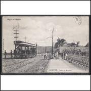 SN08 - Cartão postal antigo, Santos, Ponto do Gonzaga. Bonde.