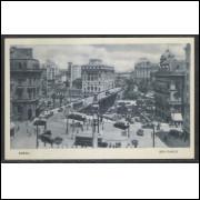 SP11 - Cartão postal antigo, São Paulo - Viaduto do Chá. Carros, ônibus. Lito tipo Guanabara.