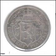 Chipre, 4 1/2 Piastres, 1921, Jorge V, prata .925 peso 2,8g diâmetro 19 mm, km#15