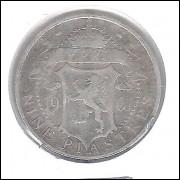 Chipre, 9 Piastres, 1901, Rainha Vitória, prata .925 peso 5,6 g diâmetro 23 mm, mbc