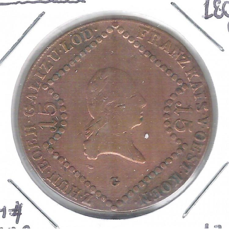Áustria, 15 Kreuzer, 1807 G, mbc, cobre, 35 mm, km#2138