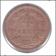 Áustria, 4 Kreuzer, 1861 A, mbc, cobre, 21 mm, km#2194