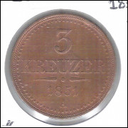 Áustria, 3 Kreuzer, 1851 A, mbc, cobre, 30 mm, km#2193