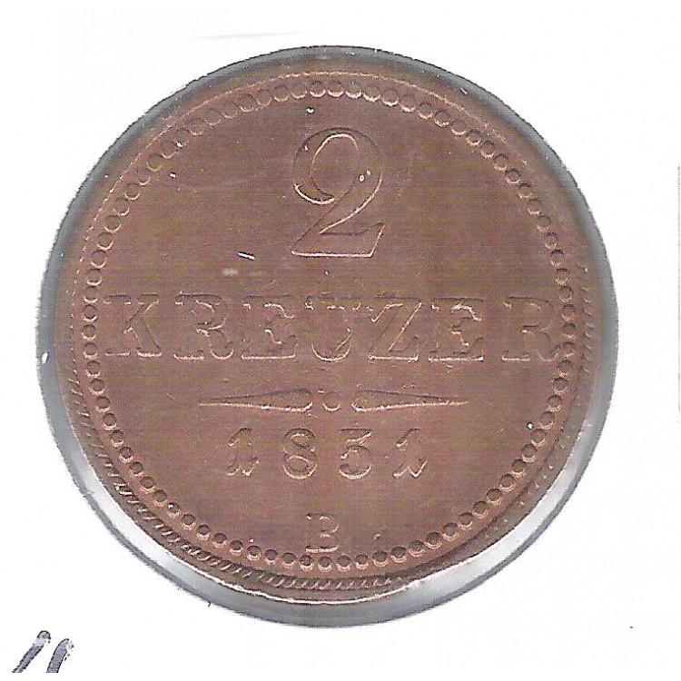 Áustria, 2 Kreuzer, 1851 B, mbc, cobre, 25 mm, km#2189