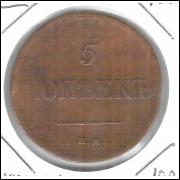 Rússia, 5 Kopeks, 1834, Nicolau I, cobre, 35 mm.