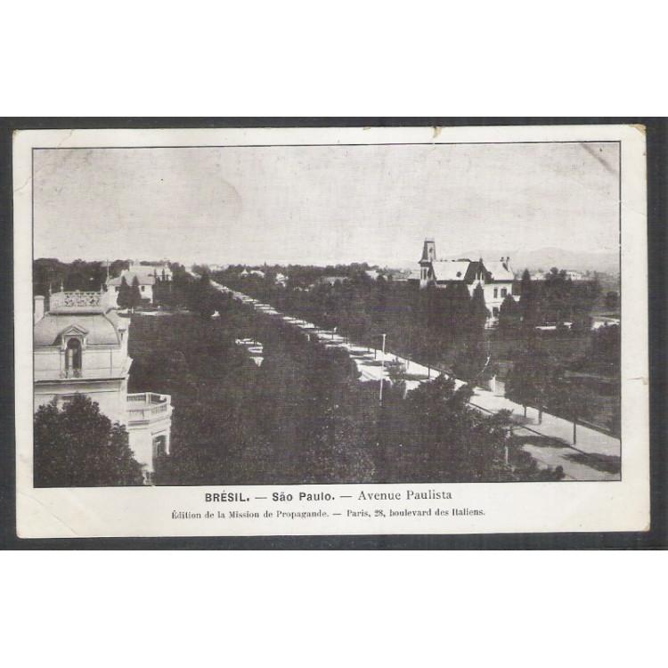 SP29 - Cartão Postal antigo, Avenida Paulista, São Paulo. Édition da la Mission de Propagande.