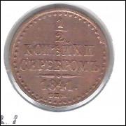 Rússia, 1/2 Kopek (Denga), 1841, Nicolau I, cobre, 21 mm.